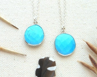 Turquoise necklace sterling silver chain long genuine turquoise necklace december birthstone protection necklace