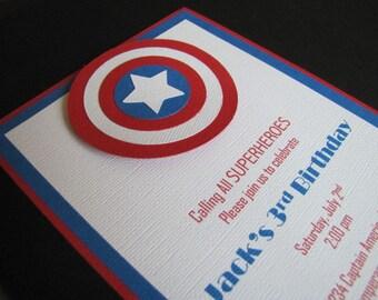 Captain America Invitations, Superhero Invitation, Captain America Birthday Party, Captain America Party, Avengers Invitation, Set of 12