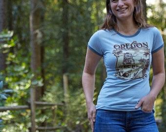 Women's Pacific Wonderland Bear Oregon   Ringer T-Shirt