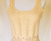 Buttery Yellow Tank Top, Ladies Creamy Yellow Tank Top, Yellow Shell, Soft Yellow Tank Top, Dressy Yellow Tank Top, Pineapple Tank Top