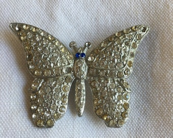Vintage Large Rhinestone Butterfly Pin 1940s