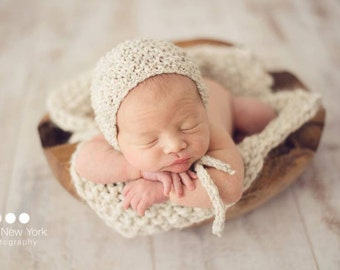 Blanket Layer Bonnet Set Hand Knit Newborn Photo Prop Hat Organic Mat Boy Knitted Cap Baby Girl Neutral Going Home Outfit Coming Christmas