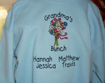 Grandma Sweatshirt Personalized Grandma's Bunch Design