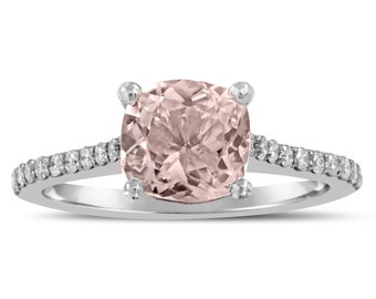 Cushion Cut Morganite Engagement Ring With Diamonds