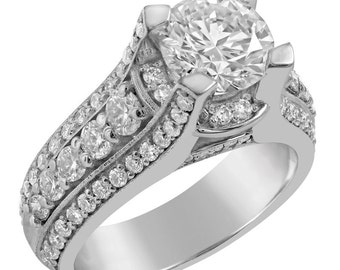 Round cut Split Shank Antique Diamond Engagement Ring 3.00ctw AR132