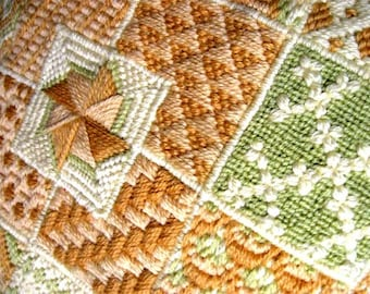 Vintage Needlepoint Pillow Bargello Geometric Wool Hand Made Coral Orange Cream Green