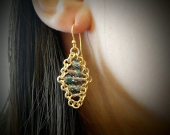Gold and Sky Blue Crystal Earrings