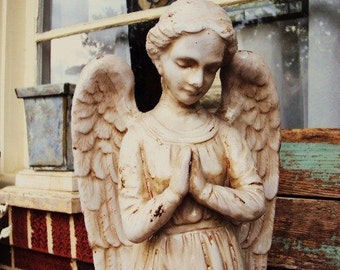 Shabby Chic Angel Statue Large French Nordic Wings Antique Glaze Pray Praying Angel Religious Relic Baroque Ornate Statuary