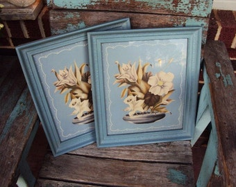 Vintage French Provincial Picture Set Pair Wood Frame French Blue Lithograph Mid Century Flower Bouquet Floral Print Shabby Chic