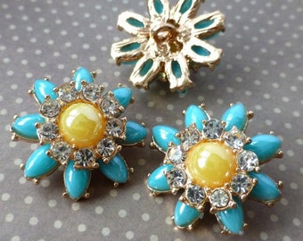 free uk postage Gold and Blue Shank Button Flower Pack of 2