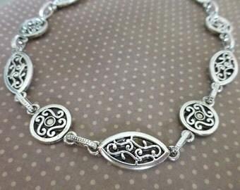 Antigue Silver Fancy Links Chain 1 metre