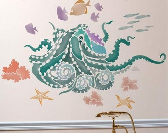 Octopus's Garden Wall Art Stencil - Wall Stencils for Affordable Room Makeover - Aquatic Stencil Great for Nursery
