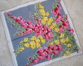 Vintage Accessory Handkerchief Pink Yellow Floral Burmel Label Collectible As Seen in Vogue