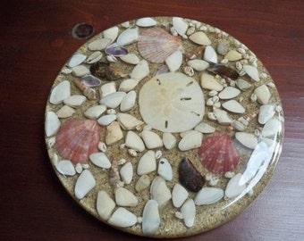 Vintage Home Dining Serving  Large Trivet Sand, Sand Dollar and Shells Round Trivet
