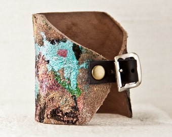 Casual Leather Cuff Bracelet - Hand Painted Jewelry - Unique Gift Idea, Women's Fashion