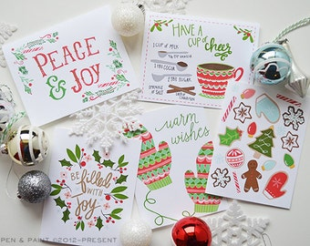 Christmas Card Mix, set of FIVE seasonal Folded Note Cards, Be filled with joy, Stationery, Hand Drawn, Illustration, Holiday, Greeting Card