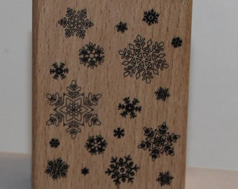 Falling Snowflakes Background Rubber Stamp