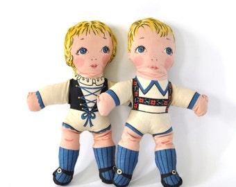 Antique Vintage Stuffed Toys Set German Hansel Gretel  Plush Antique Soft Kids Toy 50s 60s