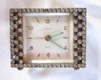 Vintage Elgin Rhinestone Alarm Clock Germany