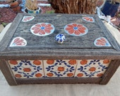 XLarge Reclaimed Wood Treasure Box ~ XLarge Reclaimed Wood Jewelry Box  ~ XLarge Reclaimed Wood Box ~ Mexican Tile and Tin Punch Box