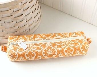 Orange Floral Pencil Case Boxy Pouch Zipper Pouch Rust Orange Pencil Case