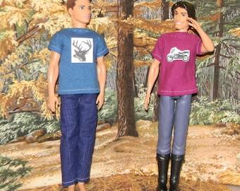 K3PC-10) Ken doll clothes, 1 pants and 2 printed T-shirts