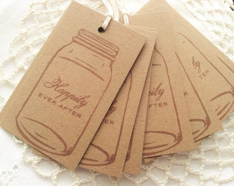 Wedding Tags Mason Jar Tags Ball Canning Wedding Happily Ever After Set of 8