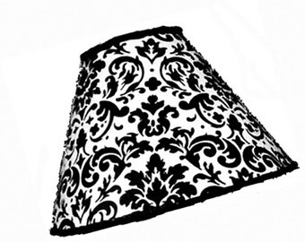 Black and white Damask Print Lamp Shade - Your choice of size, style and trim - Classico Design Fabric