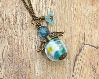 Bellis Perennis Aqua Blue Flower Angel Beaded Necklace Bronze Chain Keepsake