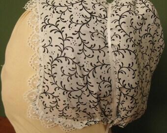 Elizabethan Coif - Faux Blackwork embroidery