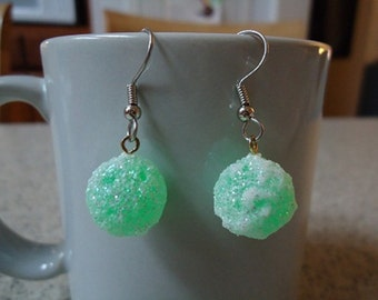Mint Green Frosted Plastic Christmas Candy Dangle Earrings