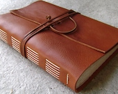 "Old world leather Journal, 6""x 9"", rustic orange-brown journal,  handmade leather journal (2176)"
