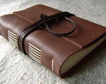 "Leather journal, rustic brown, 4"" x 6"", handmade journal by Dancing Grey Studio(1166)"