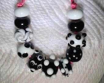 Classic Black  and White Handmade Lampwork Beads-Set 3