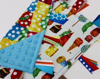 taggie, blanket, taggie, baby, gift, Eric Carle, Hungry Caterpillar, minky, ribbon, sensory, lovey, turquoise