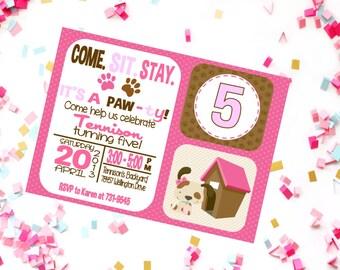 Girls Birthday Invite - Puppy Birthday - Dog Birthday - Printable Puppy Party - Puppy Invite - Dog Party Invitation