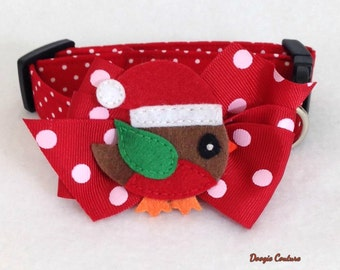 CIJ Doogie Couture Christmas Bird Dog Collar Size XS through Large by Doogie Couture