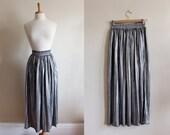 Vintage Disco Metallic Pleated 1970s Maxi Skirt