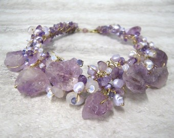 Amethyst Bib Necklace-Wire Wrapped Whimsical Woodland Bib in Rough Stone Pearl & Crystal Purple/Lilac/Lavender/Periwinkle by Sharona Nissan