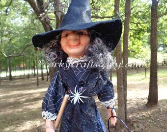 Decorative Halloween Witch, hostess gift, table decor,  tree topper, Halloween party