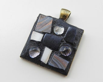 Glass mosaic pendant, glass mosaic art, wearable mosaic art, dichroic glass, unique gift for her, delicate pendant, colorful