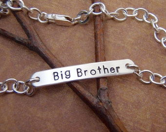 Boy's name bracelet - Personalized Sterling Silver bracelet for boys - Big Brother gift - Silver bar bracelet - Photo NOT actual size