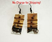 Art to wear earrings, Collage art earring, lightweight earring, Paper art earring, one of a kind earring, tan and black