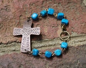 Cross Bracelet, Copper and Turquoise, Copper Cross Bracelet, Christian Jewelry, Cross Jewelry, Boho Bracelet, Beaded Bracelet