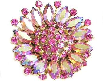 Bright Pink Large Flower Head Brooch