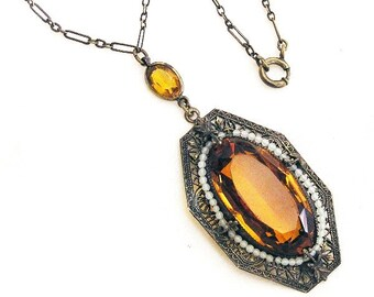 Amber and Pearl Seed Glass Pendant Necklace c1915