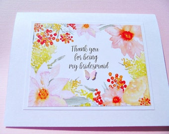 Bridesmaid Cards - Floral Thank You For Being My Bridesmaid Card - Flower Girl Cards - Maid of Honor Cards - Bridal Party Cards