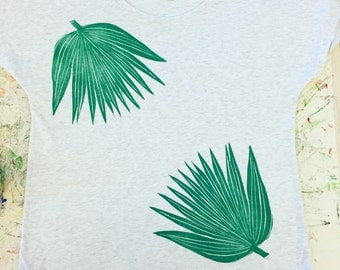 Women's Blouse, White-Grey, Block Printed with two (2) Green Loulu (Native Hawaiian Palm) Leaves