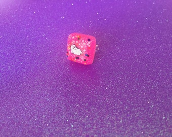 Neko Atsume Tubbs Glittery Rainbow Sprinkle Ring (Adjustable)