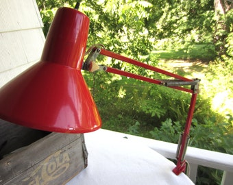 Vintage Mid Century Red LEDU Drafting Swing Desk Task Lamp Clamp Light Made in Sweden